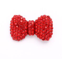 Argentina Crystal Ruby Red Bow Brooch / nupcial Dama de honor vestido de fiesta Sash Cake Decor broches para ramo / bricolaje artesanías de joyería Brochas rojas Suministro