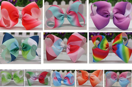 "Wholesale Large Bows For Hair - 16 colors available ! 6"" Large Ombre Rhinestone Hair Bow With Clip Girl Dance HairPin Boutique Hair Accessories For Kids 20pcs"