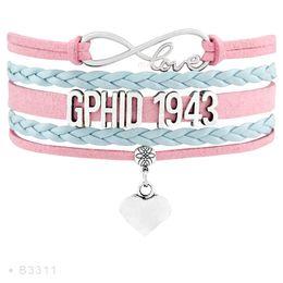 Wholesale Delta Charms - Infinity Love GPhiD 1943 ZETA 1920 Dove Heart Charm Bracelets For Women Gamma Phi Delta Sorority Bracelet Baby Pink Baby Jewelry