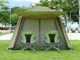 Wholesale Camping Gazebo Tent - Wholesale- High quality double layer ultralarge 4-8person family party gardon beach camping tent gazebo sun shelter