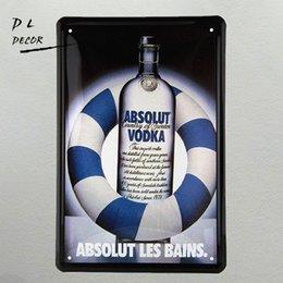 Wholesale Vodka Signs - DL- Metal sign vintage Retro inspirational ABSOLUT VODKA Tin wall hanging Poster