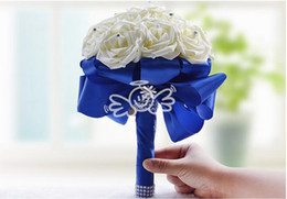 Wholesale Bridal Bouquets Flowers Rose Simulation - Wedding Bridal Bouquets Simulation Rose flower With Royal Blue Ribbon And Crystal Beading Wedding Supplies Bride Holding Brooch Bouquet 2017