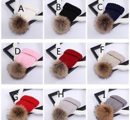 Wholesale Cute Hats For Kids - Cute Children Winter caps Raccoon Fur Hats 15cm Fur pompom Beanies Cap Natural Fur Hat For Kids Children 77