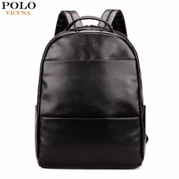 Wholesale Leather Travel Backpacks For Men - Wholesale- VICUNA POLO Fashion Preppy Style Unisex School Backpack For Teenage Solid Black Men Leather Backpack Travel Backpack Bag Men Bag