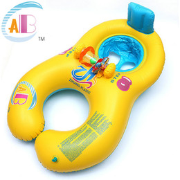 Wholesale Inflatable Baby Ring Seat - Safe Soft Inflatable Mother Baby Swim Float Ring Double Person Swimming Ring Baby Women Kids Seats