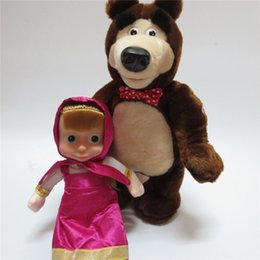 Wholesale Dancing Talk - New Masha And Bear Toys Russian Language Baby Plush Toy Musical Dancing Talk Russia Dolls Birthday Gifts For Children Hot Sale