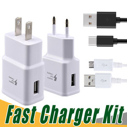 Wholesale Galaxy Note Wall Charger - Top Quality 5V 2A 9V 1.67A Adaptive Fast Charging Travel Wall Charger +1.5m usb cable For Galaxy S6 s8 s8 Edge Plus Note 4 Note 5