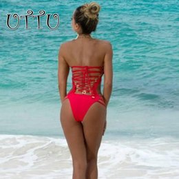 Wholesale One String Thong - Wholesale- UTTU New High Quality Solid String One Piece Swimsuit Women Push Up Black Swimwear Bandage Red Bathing Suit Sexy Thong Swim Wear