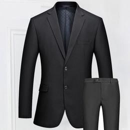 Wholesale Casual Slim Fit Business Suits - Wholesale- Mens Slim Fit Two Buttons Business Suits Quality Fashion Suits Male Casual Suits Set Bridegroom Wedding Dress Suit Black FS-097