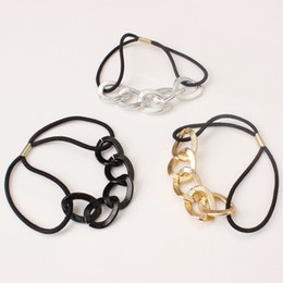Wholesale Metal Chain Hair Band - Personalized metal texture chain hair band hoop head rope rubber band wholesale small gifts heart gifts free shipping