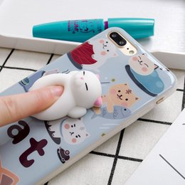 Wholesale New Cartoon Cat - For iphone 7 plus Soft Squishy Silicone Lazy Cat Toys Cartoon Cute Pattern Back Cover Phone TPU Case For iphone7 6 New Arrival