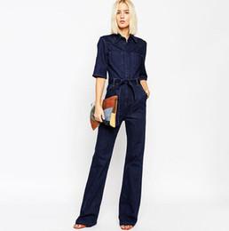 Wholesale Women S Denim Overalls - Women Jumpsuit Jeans Spring Denim Overalls Rompers Pants Long Sleeve Jeans Bodysuit Elegant Overalls Womens Rompers