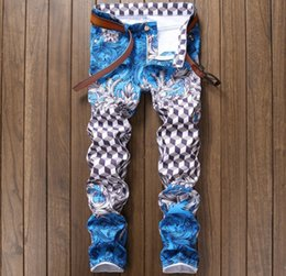 Wholesale Blue Nightclub - new Nightclub style mens jeans luxury brand men jeans trousers colorful print Slim Straight zipper jeans pants for men pink blue