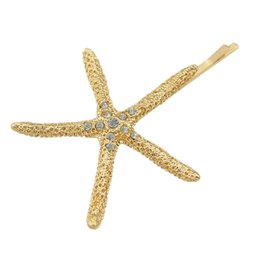 Wholesale 18k Hair Clip - Hair Accessories for Women Gold-Color Starfish Barrettes with Rhinestone Hairwear Hair Jewelry