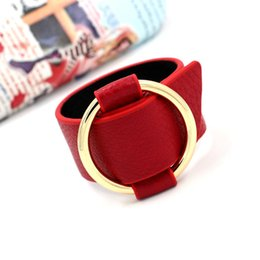 Wholesale Wide Leather Bracelet Cuff - High Quality PU Leather Bracelets Fashion Brands For Women Wide Cuff Bracelets Bangles New Gold Circle Adjustable Charm Bracelets Jewelry
