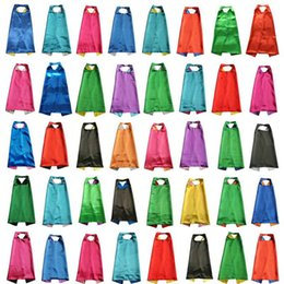 Wholesale Hero S - PLAIN COLOR 70*80cm 2layer satincostume Halloween Cosplay Superhero Capes kids capes