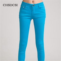 Wholesale Wholesale Colored Skinny Jeans - Wholesale- 18 Colors Jeans 2017 New Sexy Women Pants Spring Summer Fashion Pencil Pant Lady Skinny Long Candy Color Plus Size Trousers K104