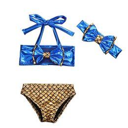 Wholesale Toddler Girls Tankini Swimsuits - Kids Girls Bikini Swimwear Baby Girls Mermaid Swimsuit Toddler Headband + Top + Pants 3pcs Set 2017 Summer Princess Bathing Tankini Swimwear