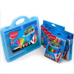 Wholesale 24 36 Painting - Wholesale- MAPED 12 18 24 36 48color plastic crayon children painting graffiti brush Non Stick Hand triangular crayon