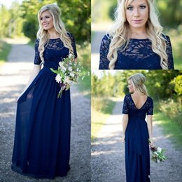 Wholesale Lilac Wedding Dresses Cheap - 2017 Newest Navy Blue Country Lace Bridesmaid Dresses Cheap Scoop 1 2 Sleeve Backless Chiffon Maid Of Honor Wedding Guest Dresses With Sash