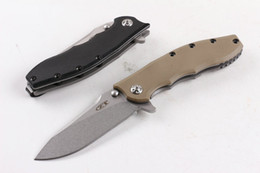 Wholesale wholesale damascus steel folding knife - DHL Shipping ZT0562 Flipper Folding Knife 5Cr15 58HRC Stone Wash Blade G10 Handle EDC Pocket Knife Knives With Original Paper box Package