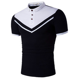 Wholesale Fashion Cheap Clothing - 2017 Hot Men's Fashion T Shirts Wholesale Brand Poloshirts Stripes Print Luxury Tees Anti-Shrink Summer Clothing Cheap Sale