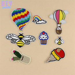 Wholesale Hats Bags Shoes - 50PCS Rainbow Fire Balloon Bee Iron On Patches Embroidered Stickers Applique Badge Hat Bag Clothing Shoes Fabric Sewing Crafts DIY