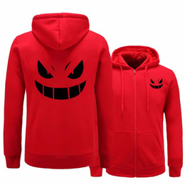 Wholesale Women Carton - Brand Adult Anime carton Poke Gengar Pocket Monsters Hoodies Sweatshirts Thicken Men Women Hoodie Zipper Hoody