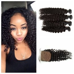 Wholesale Hair Closure Piece Deep Wave - Silk Base Closure Bundles Virgin Deep Wave Malaysian Human Hair With Closure 5pcs Lot G-EASY