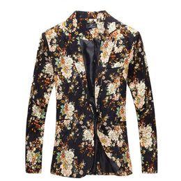 Wholesale Coats Design For Men - Wholesale- Fashion 2016 New Design Men Blazer Floral Suit Personality Casual Blazer For Men Blazer Slim Fit Jacket Men TOPS COAT MB028