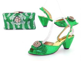 Wholesale High Heels Shoes Online - vivilace Wholesale Green Latest Stone African Ladies Shoes And Bag For Wedding Hot Sale Wedding Bride Shoes And Bag Set Online