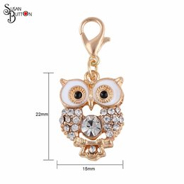 Wholesale Glass Locket Dangles - Wholesale Crystal Owl Floating Dangle charms for Living glass locket Pendant Diy Floating Pendant Charms Jewelry