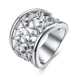 Wholesale Sterling Silver Code 925 - Free shipping Wholesale 925 Sterling Silver Plated Fashion Hollow ring -8 code Jewelry LKNSPCR032-8
