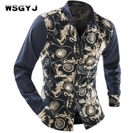 Wholesale Male Shirt Fashion Models - Wholesale- WSGYJ Brand 2017 Fashion Male Shirt Long-Sleeves Tops Wild Print Color Classic Models Mens Dress Shirts Slim Men Shirt