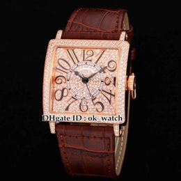 Wholesale Highest Cds - NEW High quality Luxury LADIES'COLLECTION watch Master Square Ladies Quartz watch Diamond dial 6002 M QZ V D CD brown leather strap watches