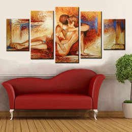 Wholesale Couple Wall Painting - Hand Painted 5 Piece nude couple Oil Painting On Canvas hot sexy lover Wall Pictures For bedroom art Home Decoration