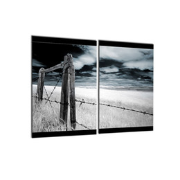 Wholesale Cool Abstract Art - 2 PCS Modern Wall Art Picture Gray Landscape Canvas Painting Cool Spray Print Decorations for Wall
