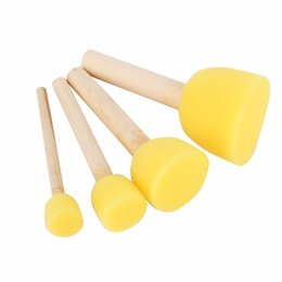Wholesale Sponge Brush Art - 4pcs Round Stencil Sponge Foam Brushes Wooden Handle for Furniture Art Crafts Stenciling Painting Tool Supplies