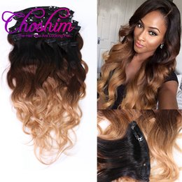 Wholesale 27 Pieces - Choshim Slove Rosa T1B 4 27 Body Wave Clip In Hair Extensions 100% Brazilian Human Remy Hair 8 Pieces And 120g Set