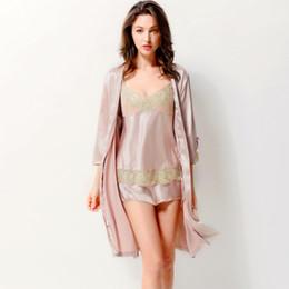 Wholesale Floral Pyjamas - 2017 new Summer Satin Silk Pajamas Female Three-Piece Lace Pyjama Sets Sexy Emulation Silk Pijama Robe+Suspenders+Short 3701
