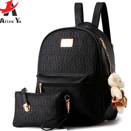 Wholesale Leather Lady Rucksacks - Wholesale- Attra-Yo! women leather backpack school bag ladies 2016 women's travel bags Rucksack high quality designer bag backpack LS8359ay