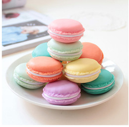 Wholesale Macaron Storage Boxes - 4.2*4.2cm Mini Macaron Bags Earphone SD Card Storage Box Case Carrying Pouch Small Pills Jewelry Box Organizing Drop Shipping