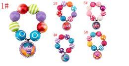 Wholesale Cartoon Beaded Bracelets - 5styles Trolls Arylic Beaded bracelet Poppy Creek Suki Biggie Uglydolls cartoon Brace lace Kids Gifts Party toys