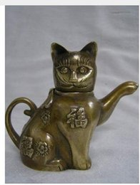 Wholesale Bronze Teapot - China Old Bronze Chinese Old 7'' China Pure The Lucky Cat copper teapot China Fu decoration bronze factory outlets