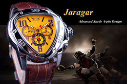 Wholesale Jaragar Luxury Men Mechanical Watches - Relogio Masculino Jaragar Watches Men Yellow Leather Strap Automatic Mechanical Men's Watches Clocks Luxury Triangle Watches