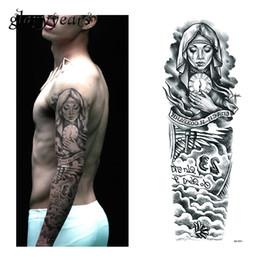 Wholesale Temporary Tattoo Neck - 1 Piece Temporary Tattoo Sticker Nun Girl Pray Design Full Flower Arm Body Art Beckham Big Large Fake Tattoo Sticker New QB-3031