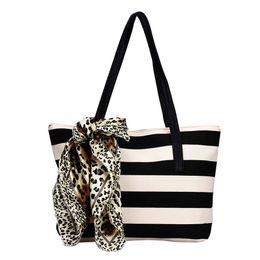 Wholesale Canvas Scarf - Wholesale-Fashion Women's Bag Big Striped Plaid Canvas Ladies Handbags Shoulder Bags Clutches With Silk Scarf bolsa feminina Free Shipping