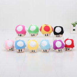 "Wholesale Wholesale Mario Bros Toys - Free Shipping 20 Lot 9 Colours 2.5"" Super Mario Bros Mushroom With Phone Chain Plush Doll Toy"