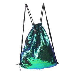 Wholesale Wholesale Two Tone Canvas - Sequins Backpacks Bag Mermaid Sequin Drawstring Bags Glitter Sports Shoulder Bags Best Backpack Style Nylon Mini Elegant Bags