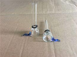 Wholesale Glasses Ear - Wholesale Glass Slide Bowl Diameter 9mm for Glass Binger Bongs and Pipes Clear Slider Bowls with Blue Ear Restraints